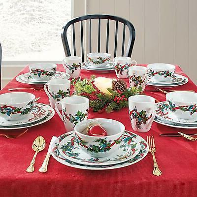 Christmas Dinnerware Set Piece Holiday Stoneware Dishwasher