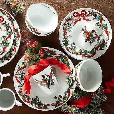 Christmas Dinnerware Set 16 Piece Holiday Stoneware