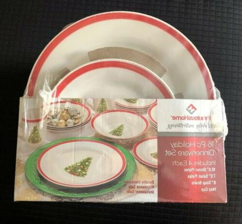 16 piece service for 4 holiday stoneware