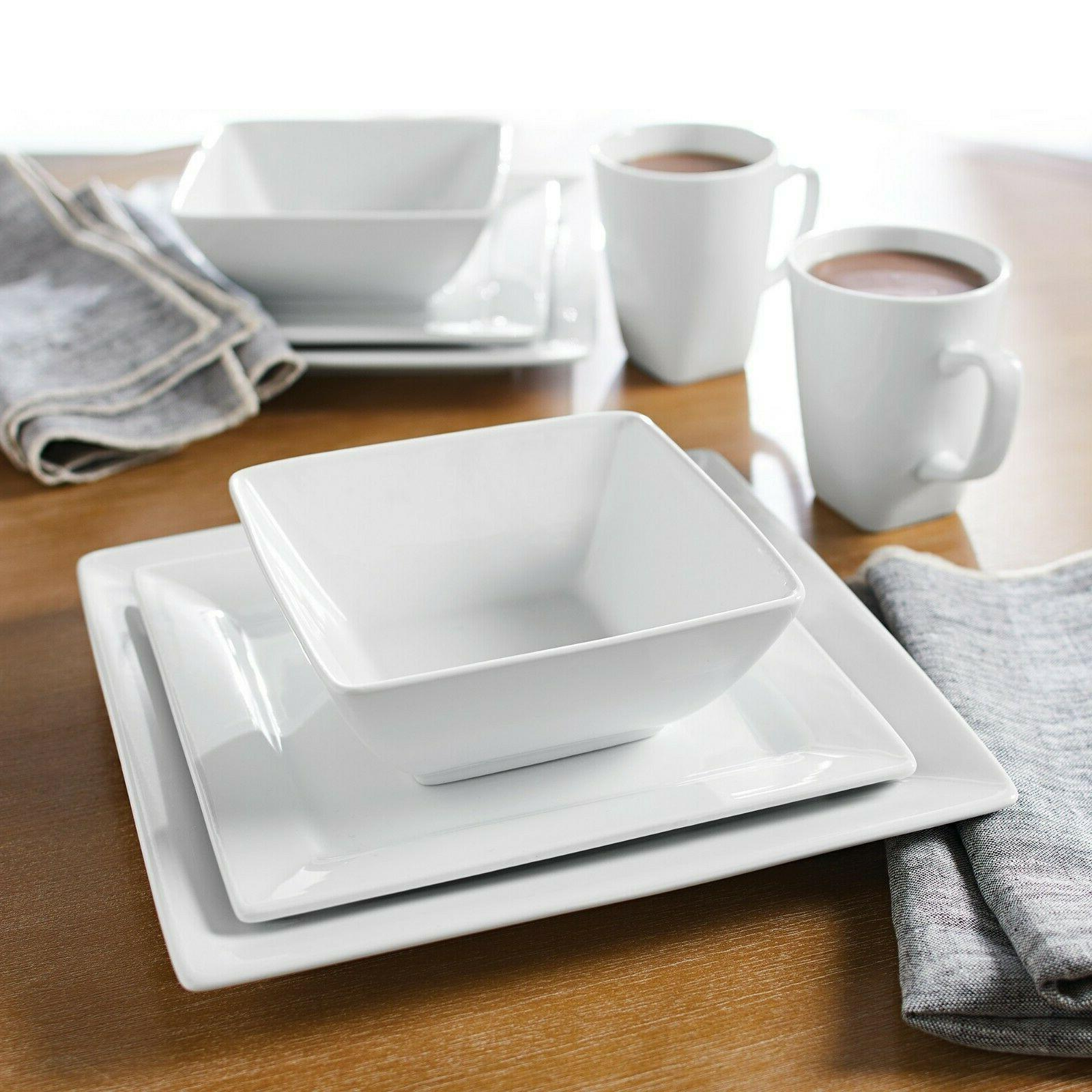 Porcelain 16-Piece Square Dishes Stoneware