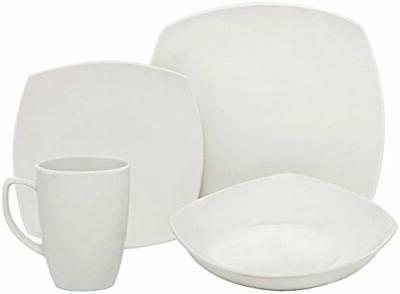 16 piece square porcelain dinnerware set white