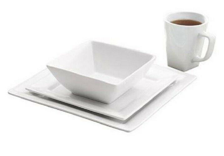 16-Piece Square Set White Dishes