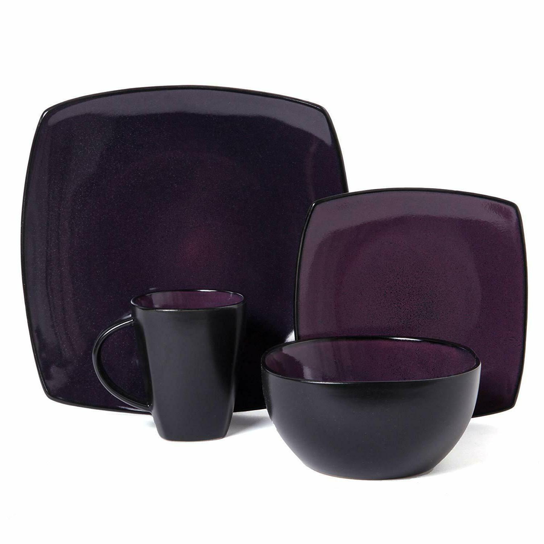 16-Piece Square Dinnerware Purple