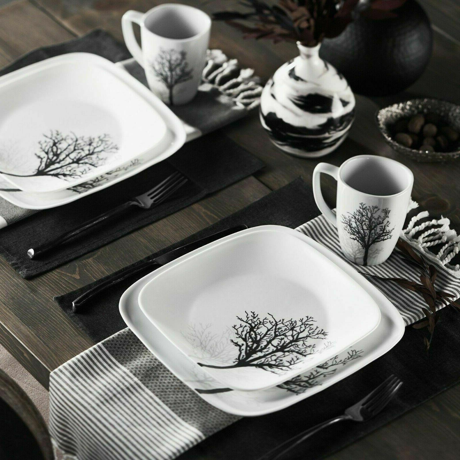 16 piece square timber shadows dinnerware set