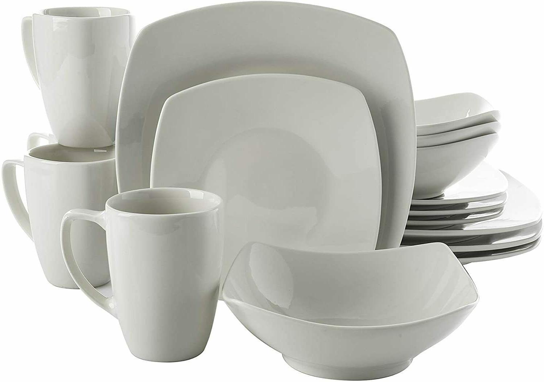 Set of 16pcs Plates Bowl and Mug, White, Square