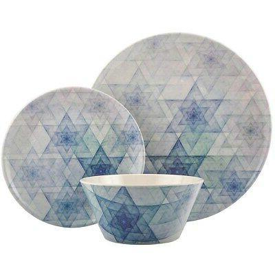 Melange 18-Pcs Dinnerware Set for 6 Hanukkah Stars White