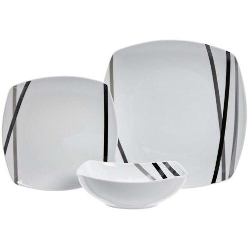 AmazonBasics Dinnerware Set - Modern Service for 6