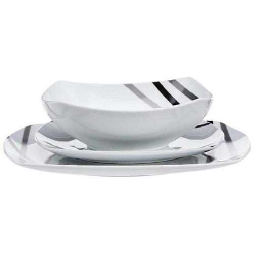 AmazonBasics Dinnerware Set - Modern Beams, for