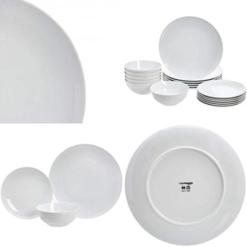 18 piece dinnerware set white porcelain coupe
