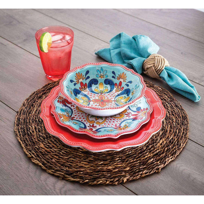 18 piece melamine dinnerware set 6 place
