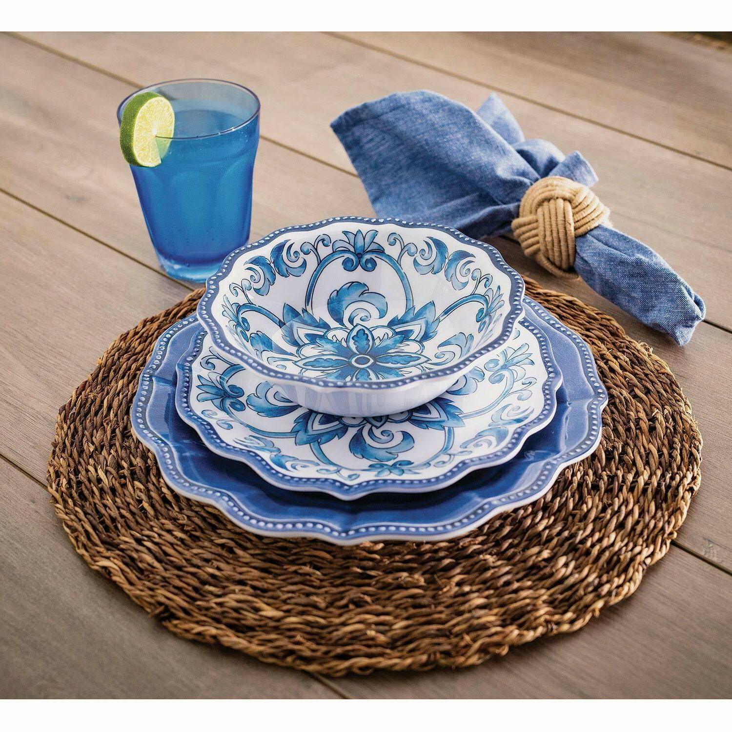 18 piece melamine dinnerware set blue french