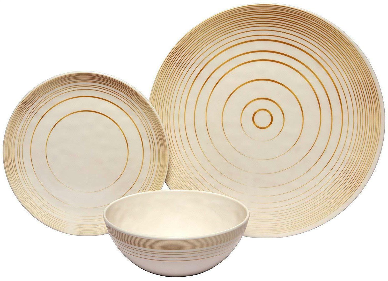 18 piece melamine dinnerware set gold timber