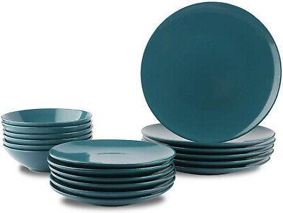18 piece stoneware dinnerware set deep teal