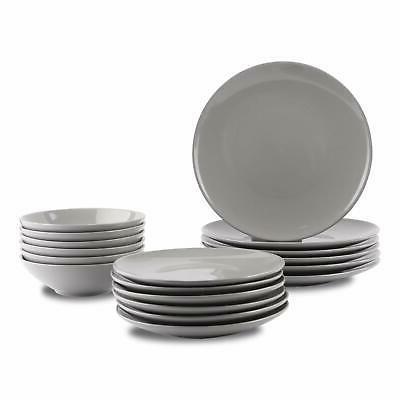 18 piece stoneware dinnerware set smokey grey