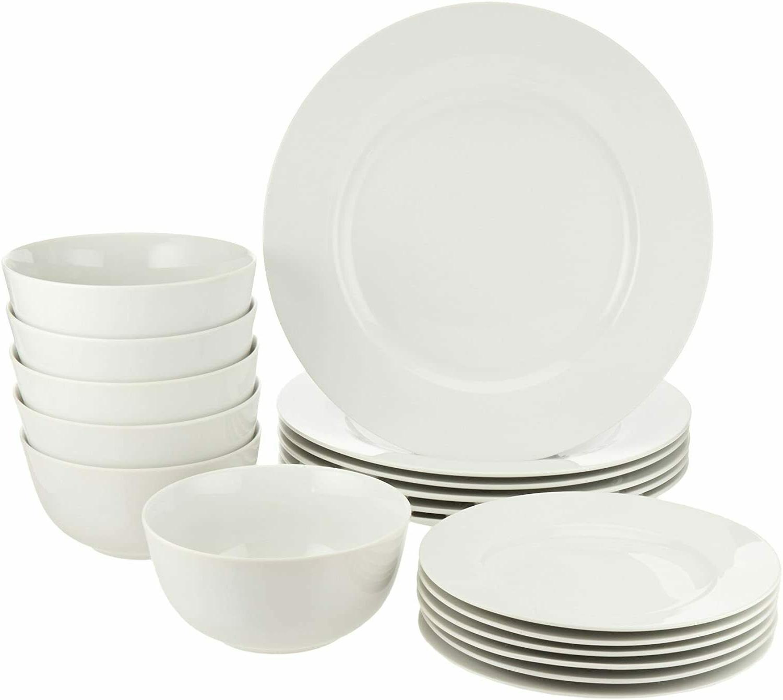 18-Piece White Kitchen Dinnerware Set Dishes Bowls Service f