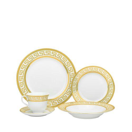 Euro 20-pc Athena White Service for 4, Greek Key Gold