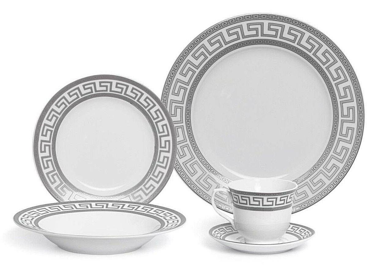 Euro Porcelain 20-pc Dinnerware 4, Platinum Greek Key