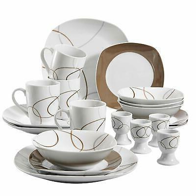 20 pcs porcelain dinnerware sets brown lines
