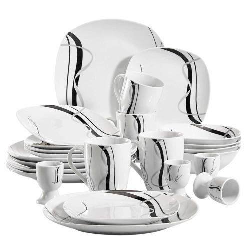 VEWEET 20-Piece Porcelain Tableware Set Black Stripe Pattern