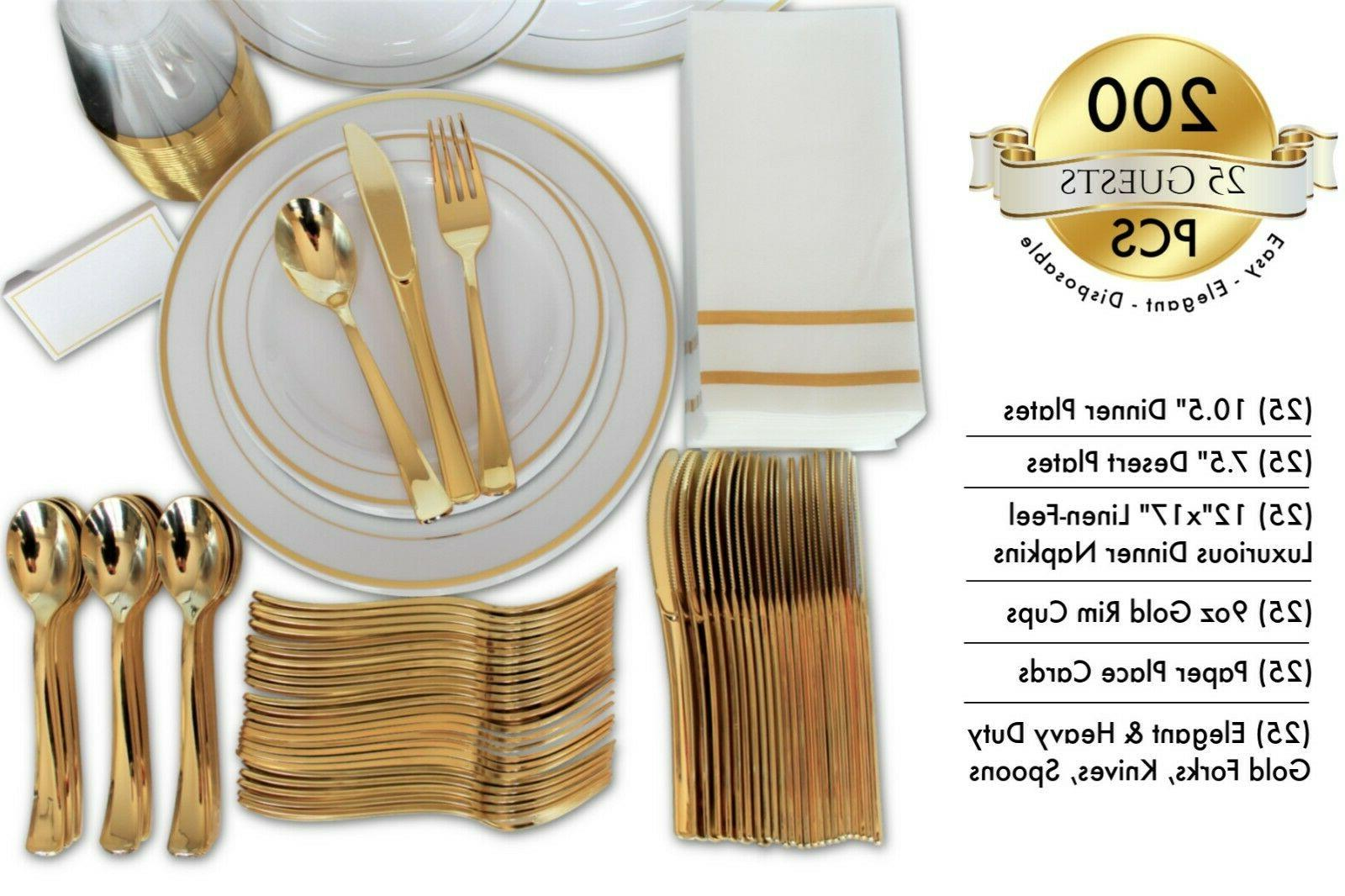 200 Gold Disposable Plates Guests