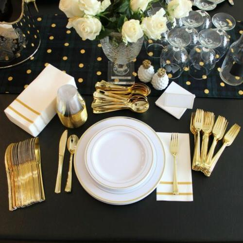 200 Gold Disposable Dinnerware Plates Party Guests