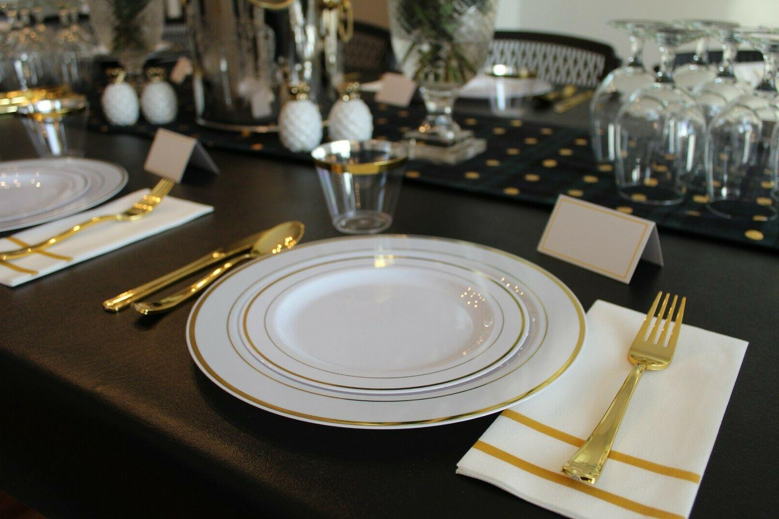 200 Gold Disposable & Plates 25 Guests