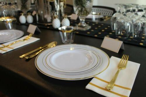 200 Piece Gold Plates Guests