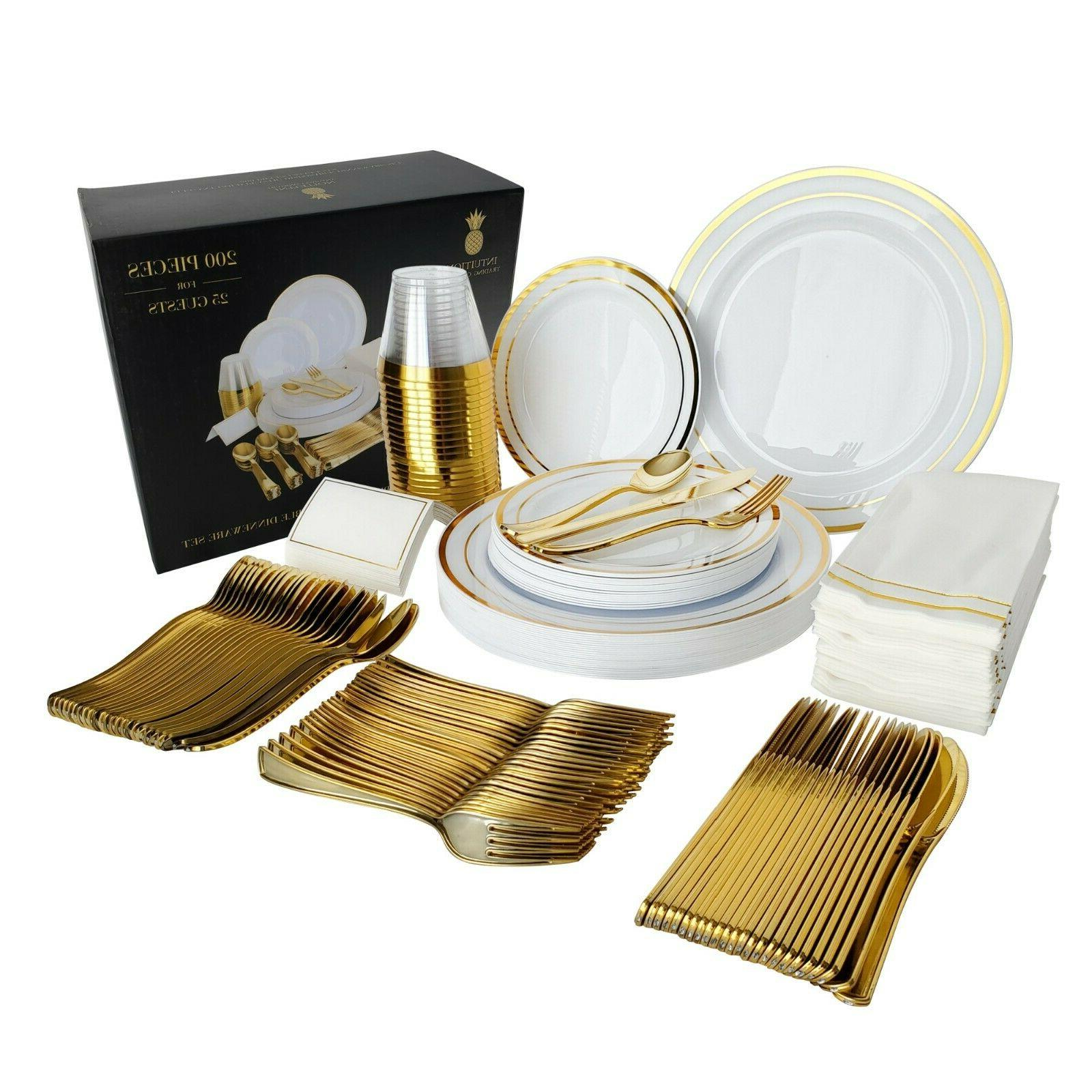 200 piece gold plastic disposable dinnerware set