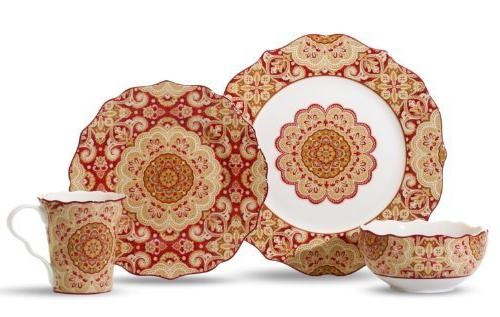 222 Fifth Lyria 16-Piece Set Dinnerware Set, Saffron