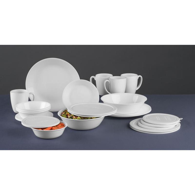 24-Piece Traditional White Glass Dinnerware Set