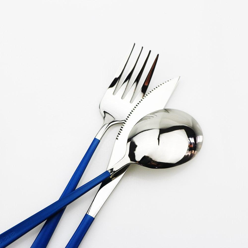 3-Piece Colorful Eco-Friendly Portable Travel Cutlery <font><b>Dinnerware</b></font> Steel Fork <font><b>Set</b></font>