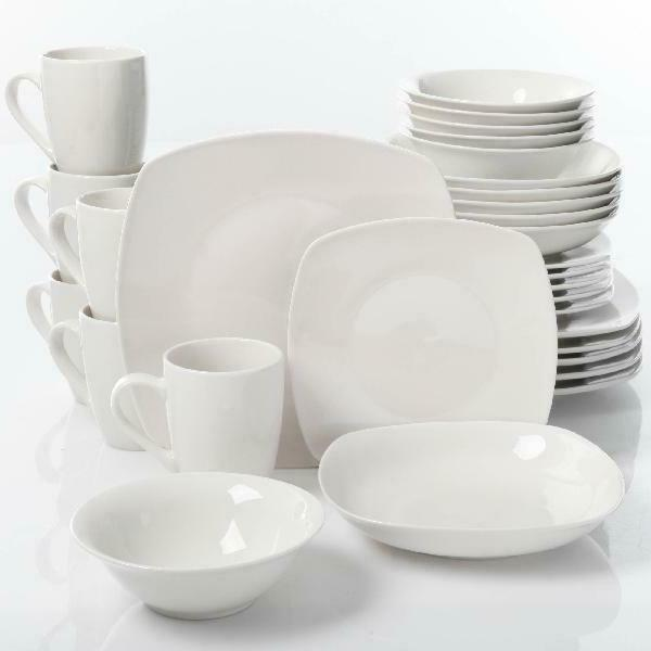 30 Piece Porcelain Dinnerware Set Square Dinner Plates Dishe