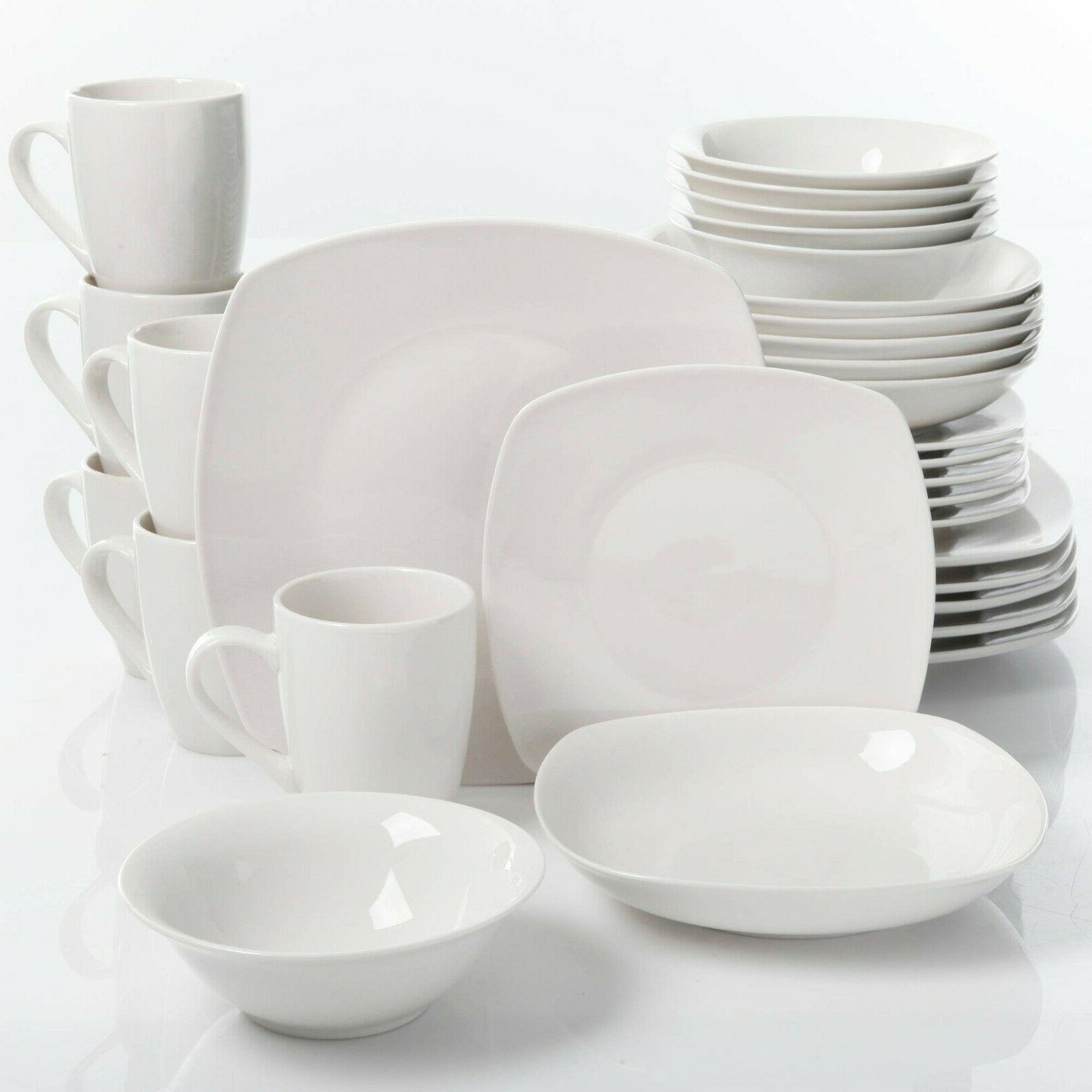 Porcelain Dinnerware Set 30-Piece Square Dinner Plates Dish