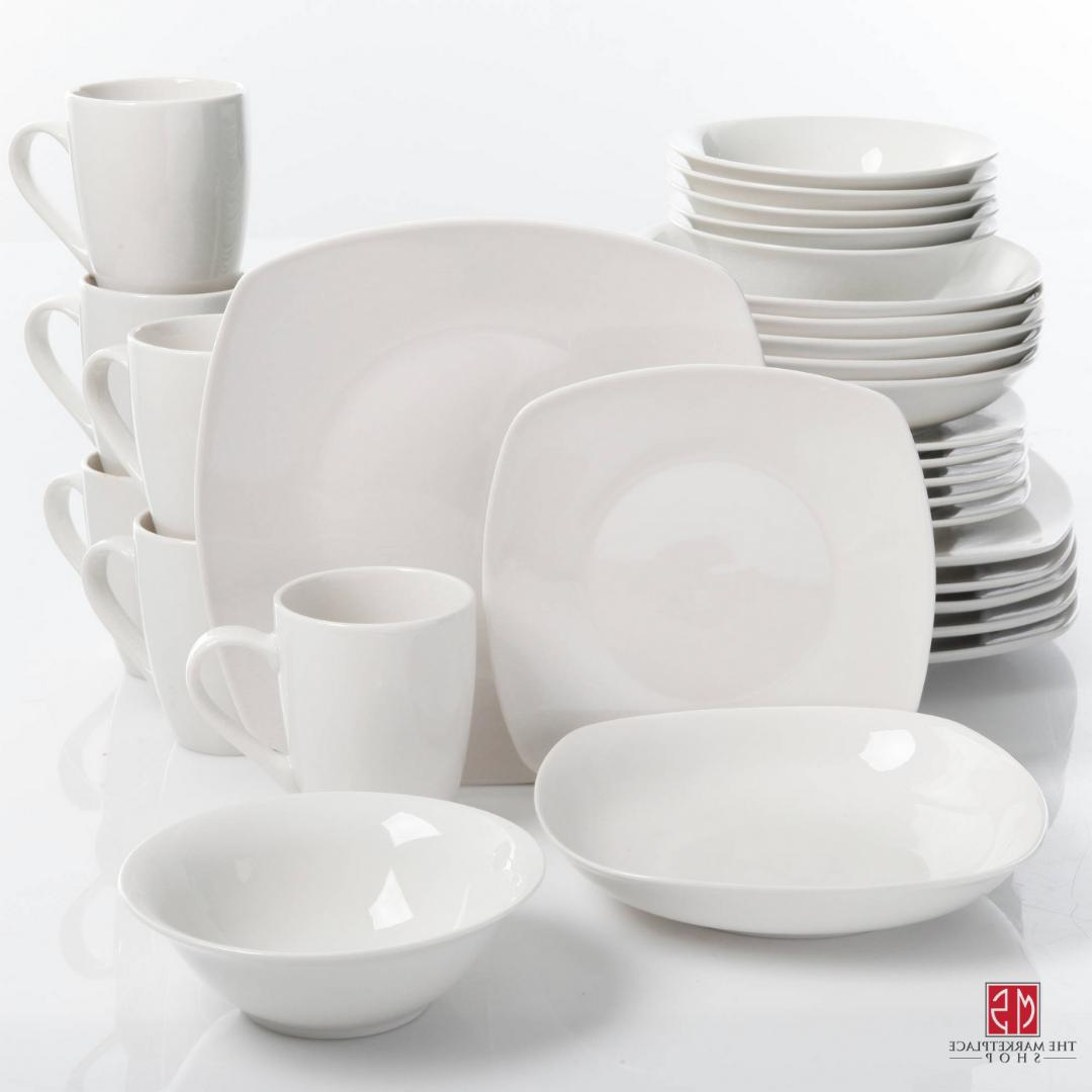 30-Piece Porcelain Dinnerware Set Square Dinner Plates Dish