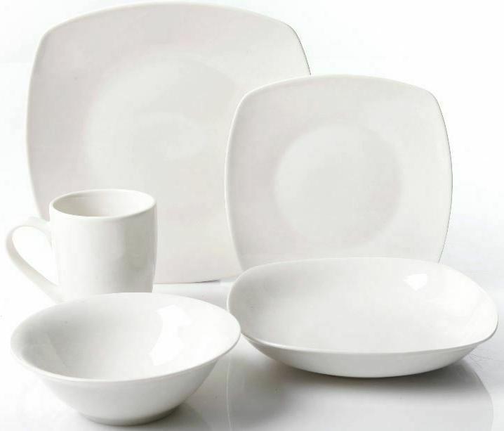 30-Piece Set Square Dinner Plates Service 6