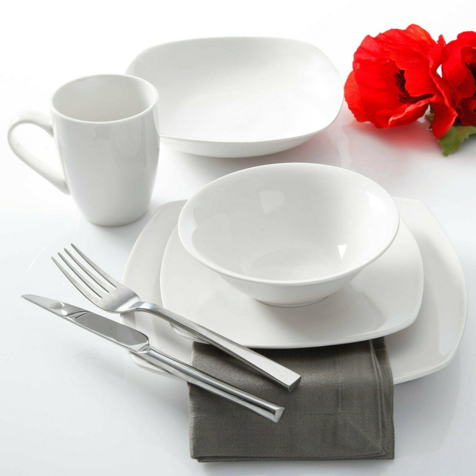 30-Piece Porcelain Square Dish Service For 6 White