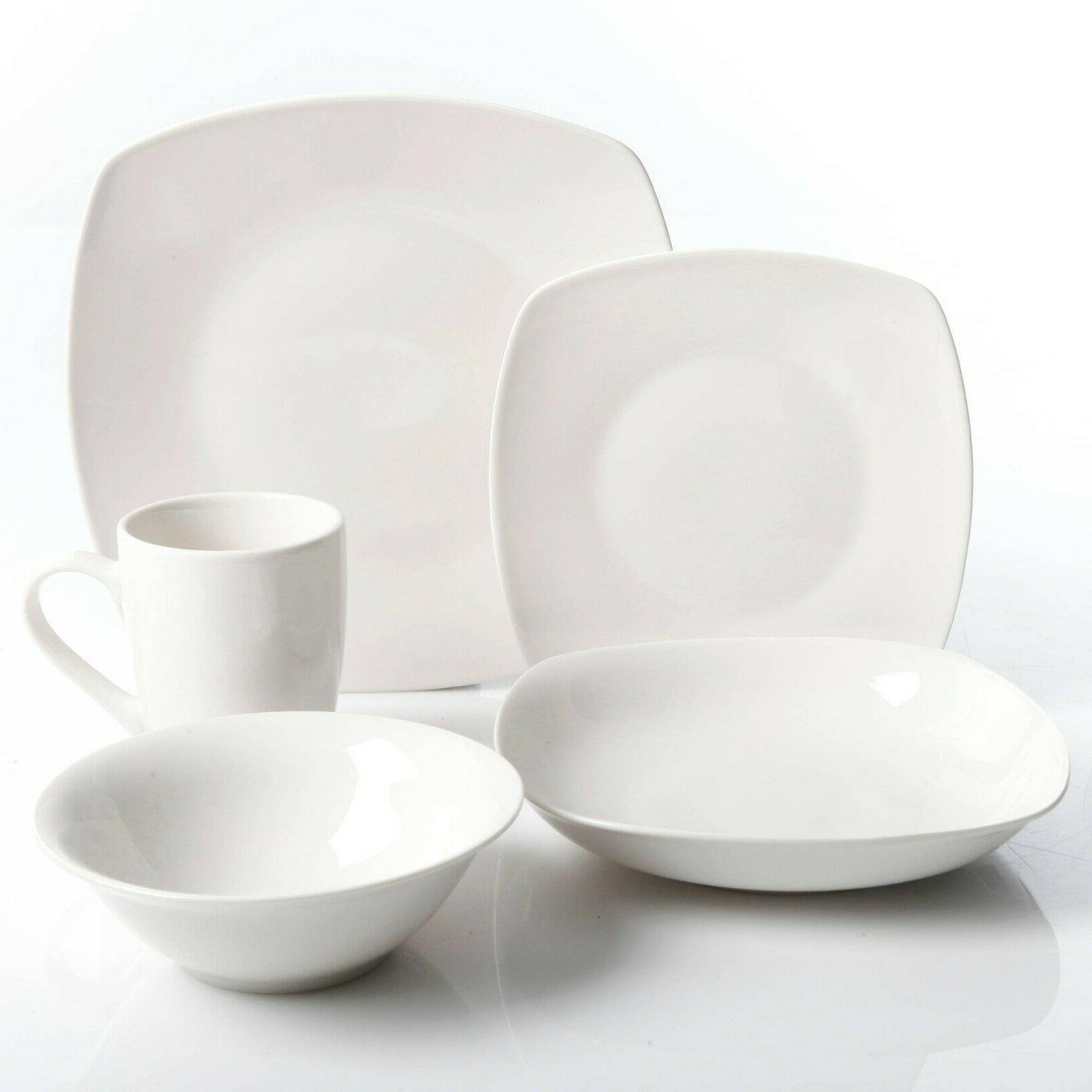 30-Piece Porcelain Dinnerware Set Square Plates Service 6 White