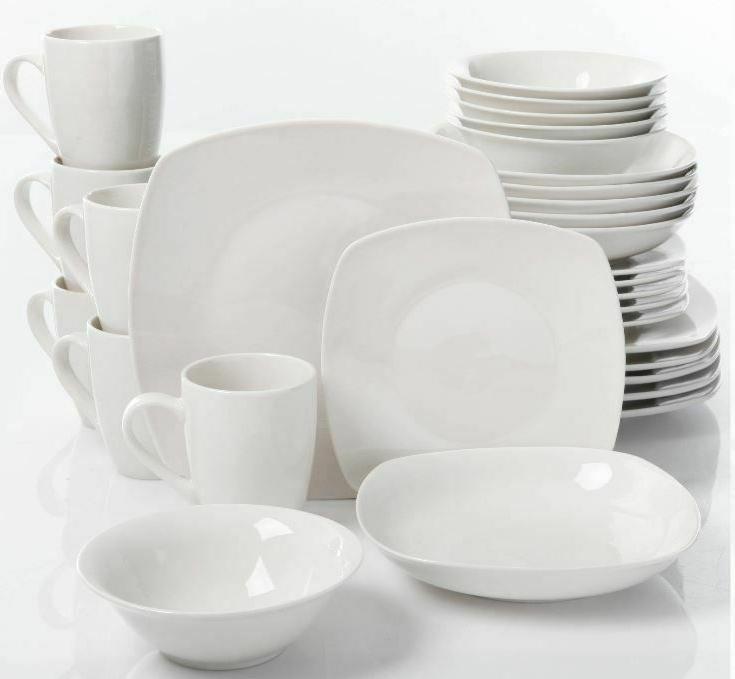 30 piece porcelain dinnerware set square dinner