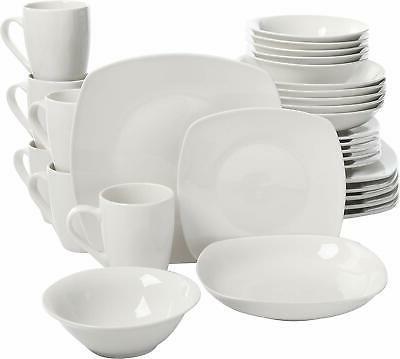 30 pieces dinnerware set porcelain square white