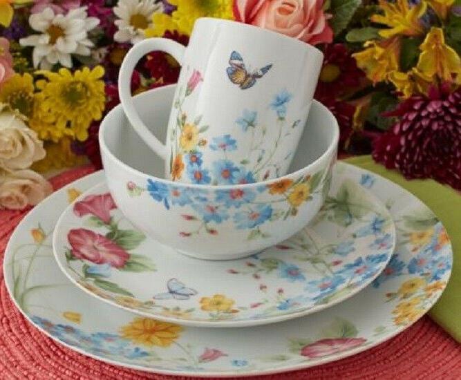 32 piece colorful butterfly garden dinnerware set