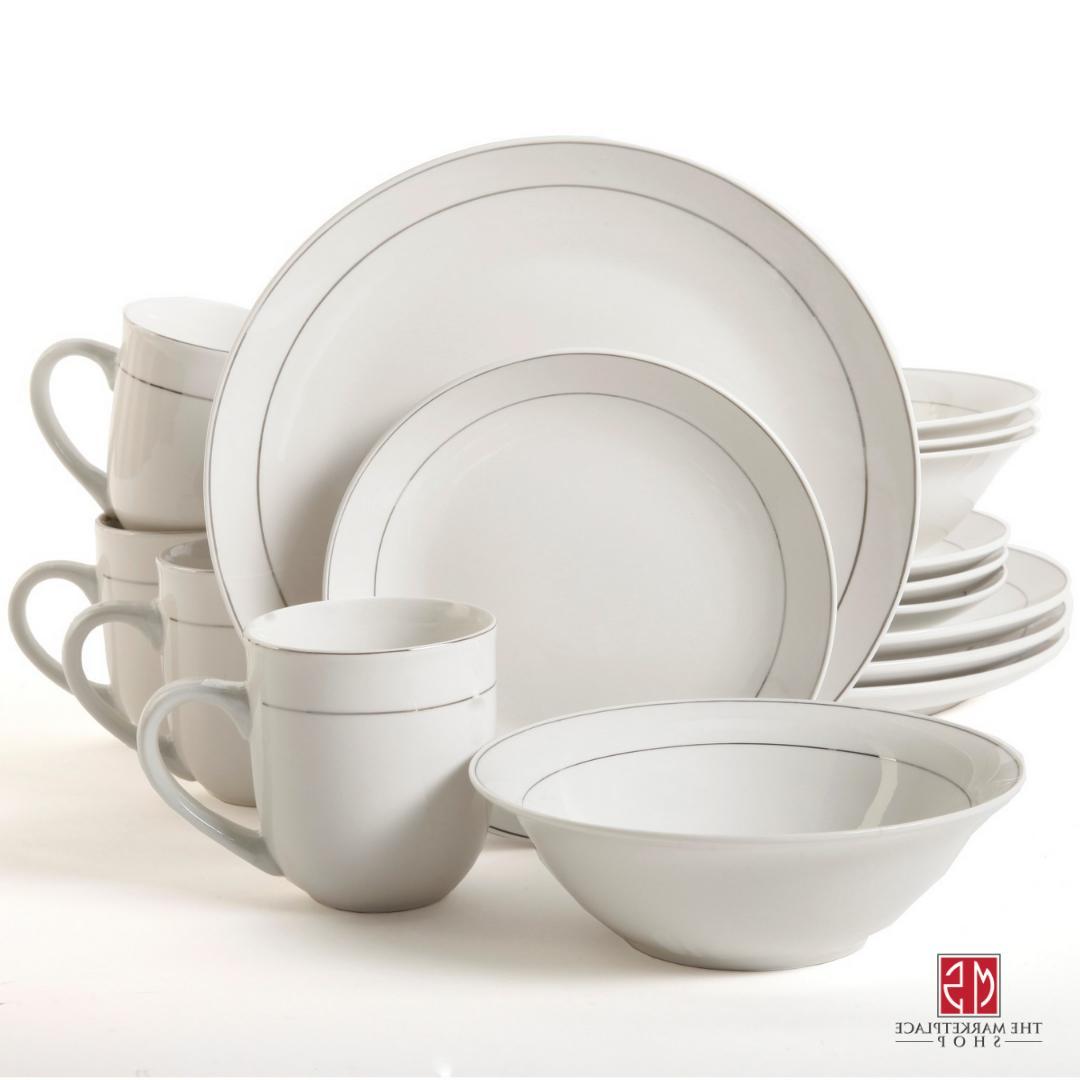 32 Piece Round Moon Dinnerware Set Kitchen White Dining Plat