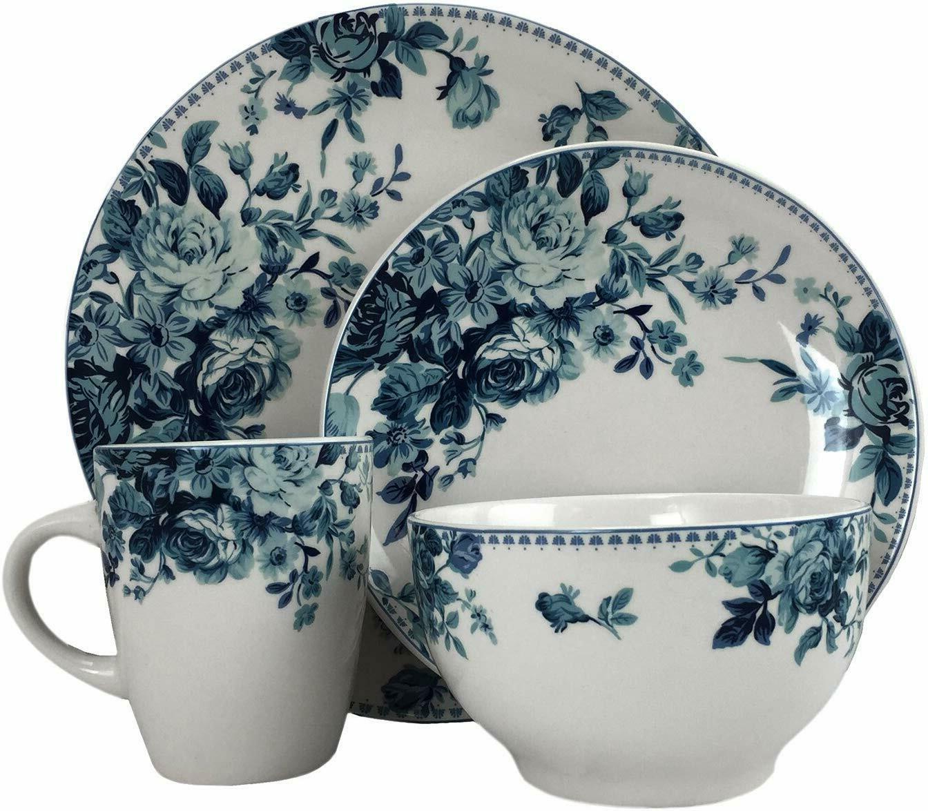 Round Stoneware Colored Pattern Dinnerware Dish Set 16 Piece
