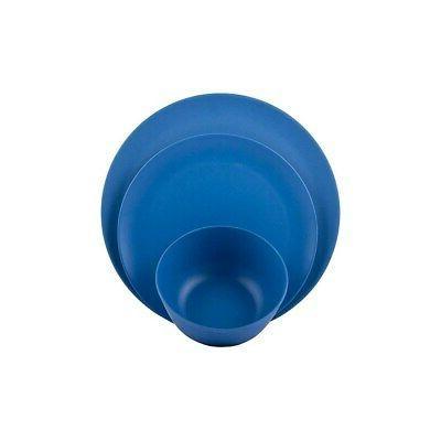 Melange 36-Pcs Bamboo Dinnerware Set, Blue