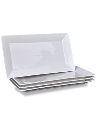 4 serving platters classic white