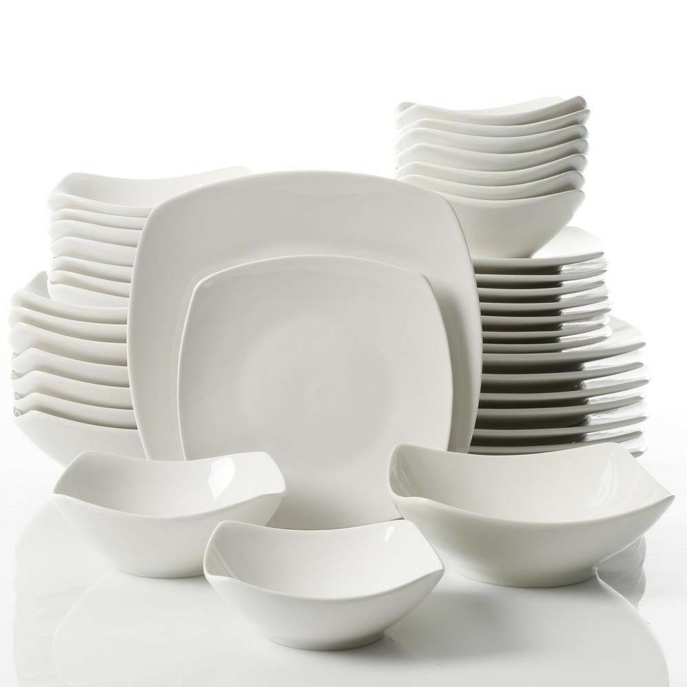 40 pcs white soft square dinnerware set
