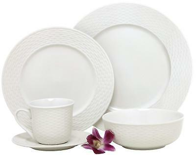 Melange  40-Piece Porcelain Dinnerware Set Nantucket Weave |