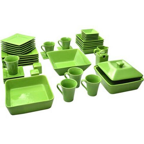 45-Piece Square Dinnerware For Banquet Plates Bowls