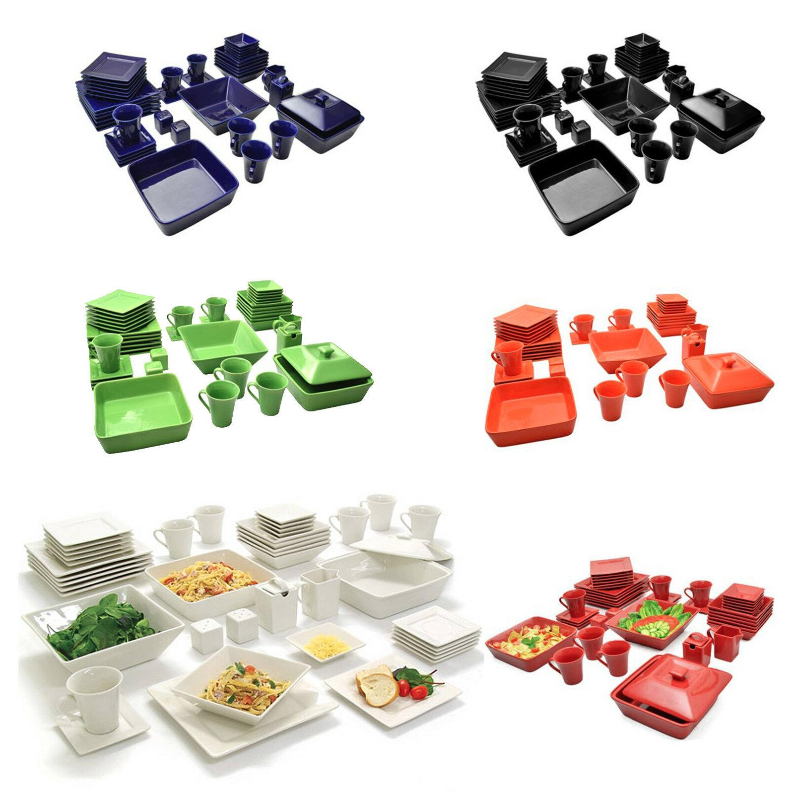 45 piece square dinnerware set for 6