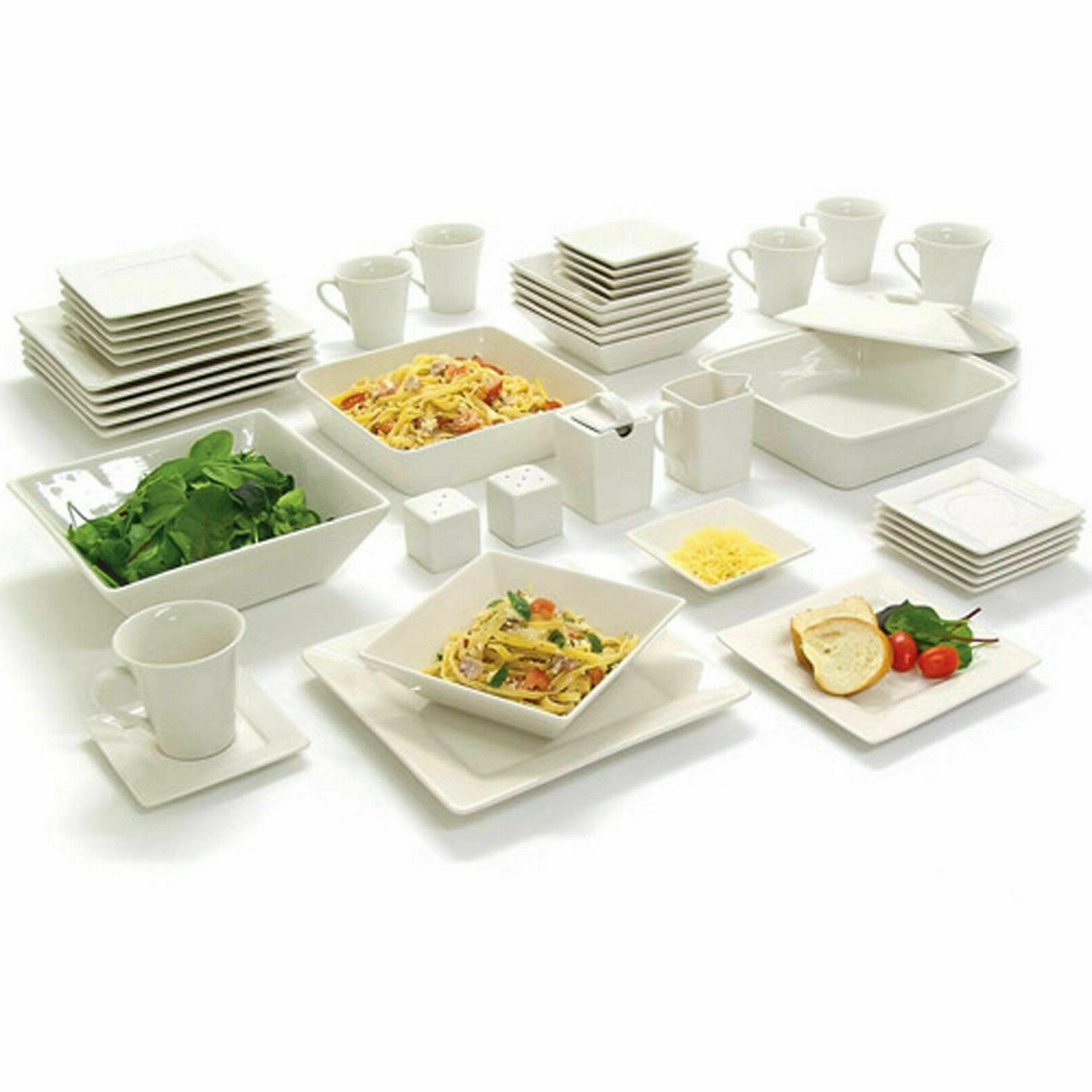45 piece white dinnerware set square banquet