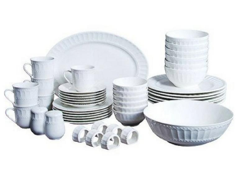46 Piece Dinnerware Set WHITE Kitchen Dining Dishes Plates S